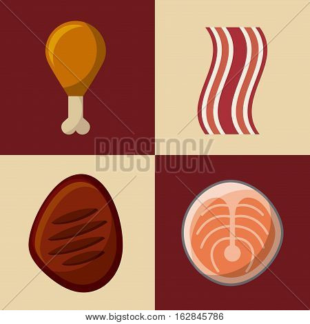 fast food icons over colorful squares. vector illustration