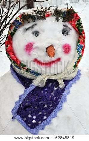 close-up of female snowman in ukrainian style