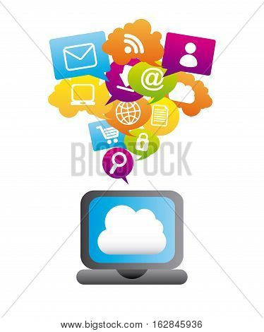 laptop computer with social network icons around. colorful design. vector illustration