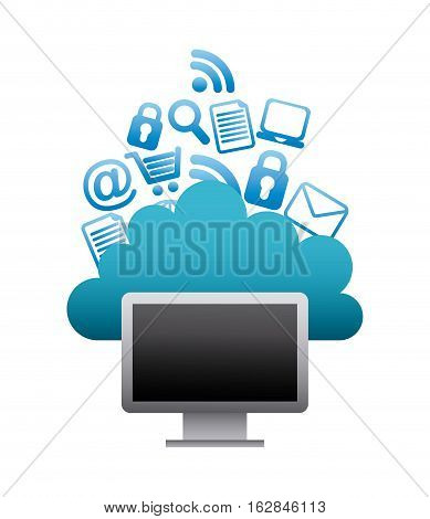 computer with cloud and social network icons around. colorful design. vector illustration