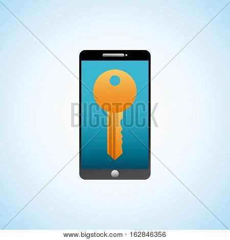 smartphone device with key icon on screen over white background. colorful desing. vector illustration