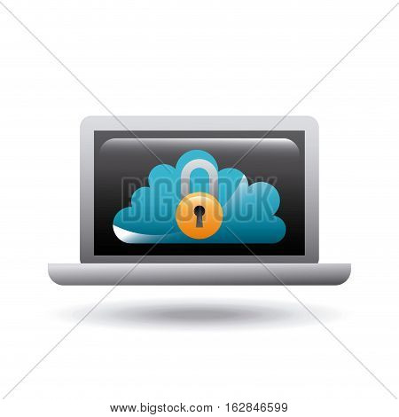 laptop computer with cloud and padlock icon on screen over white background. colorful design. vector illustration