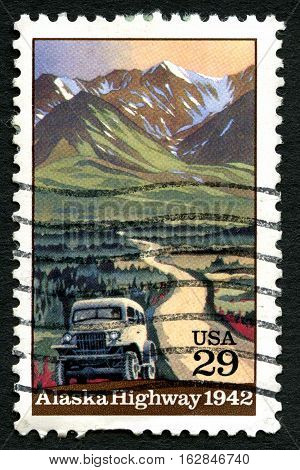UNITED STATES OF AMERICA - CIRCA 1992: A used postage stamp from the USA commemorating the opening of the Alaska highway in 1942 circa 1992.