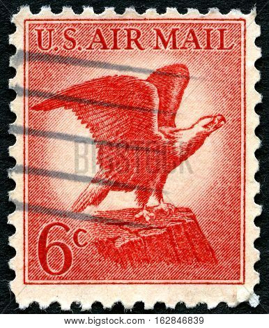 UNITED STATES OF AMERICA - CIRCA 1963: A used US Air Mail postage stamp with an illustration of the iconic Bald Eagle circa 1963.