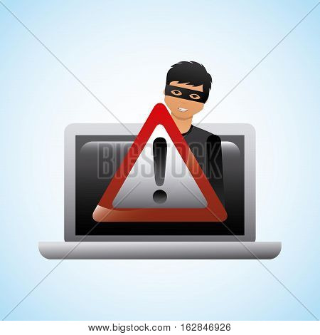 cartoon hacker man with laptop computer and alert sign icon over white background. cyber security concept. colorful design. vector illustration