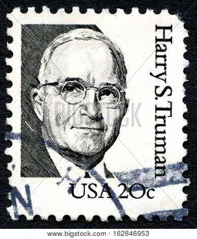 UNITED STATES OF AMERICA - CIRCA 1984: A used postage stamp from the USA depicting an illustration of former President of the United States - Harry S. Truman circa 1984.