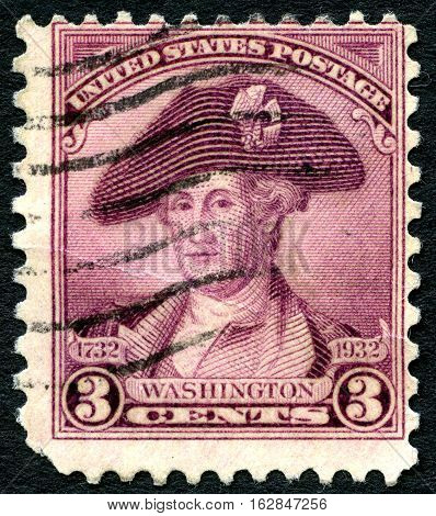 UNITED STATES OF AMERICA - CIRCA 1932: A used US postage stamp with an illustration of the first President of United States George Washington circa 1932.