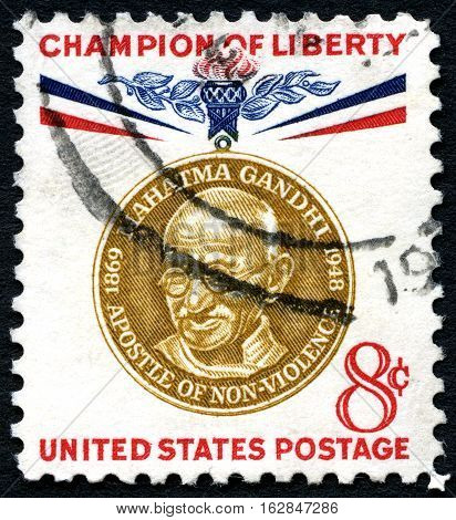 UNITED STATES OF AMERICA - CIRCA 1961: A used postage stamp from the USA celebrating the life of Mahatma Gandhi - a Champion of Liberty circa 1961.