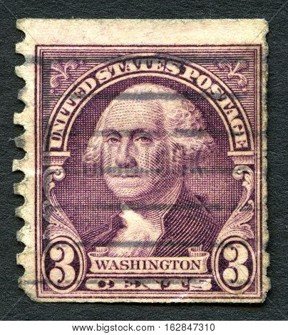 UNITED STATES OF AMERICA - CIRCA 1932: A used postage stamp from the USA depicting an illustration of Founding Father and first President of the United States George Washington circa 1932.