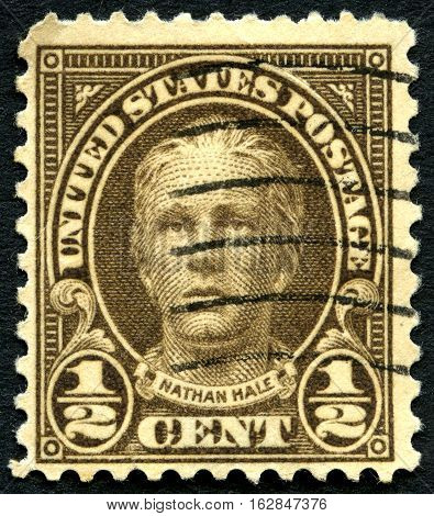UNITED STATES OF AMERICA - CIRCA 1925: A used postage stamp from the USA featuring an illustration of Nathan Hale circa 1925. Hale was an American soldier and spy for the Continental Army during the American Revolutionary War.