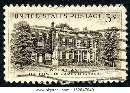UNITED STATES OF AMERICA - CIRCA 1954: A used postage stamp from the USA depicting an illustration of the home of James Buchanan the 15th President of the United States circa 1954.