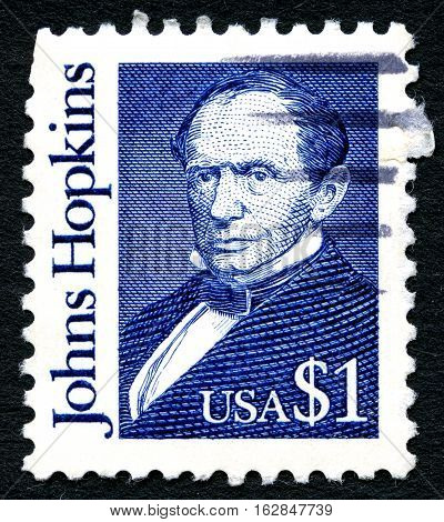 UNITED STATES OF AMERICA - CIRCA 1997: A used postage stamp from the USA depicting an illustration of American Philanthropist Johns Hopkins circa 1997.