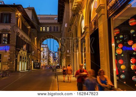 Street Scene In The Old Town Of Florence At Night