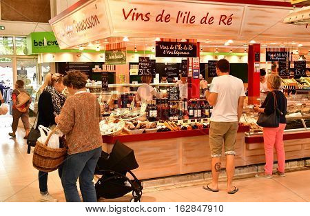 Le Bois Plage en Re France - september 27 2016 : the covered market