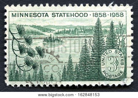 UNITED STATES OF AMERICA - CIRCA 1958: A used postage stamp from the USA celebrating the 100th Anniversary of Minnesota Statehood circa 1958.
