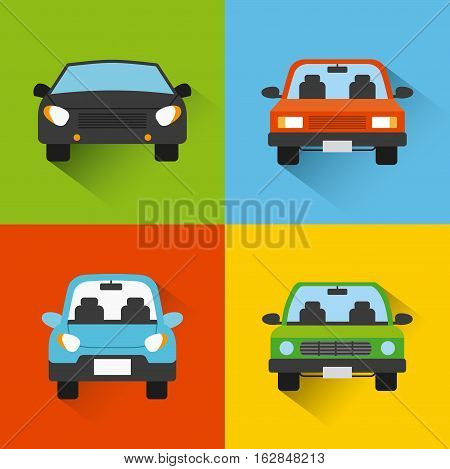 cars vehicles icon inside colorful squares. vector illustration