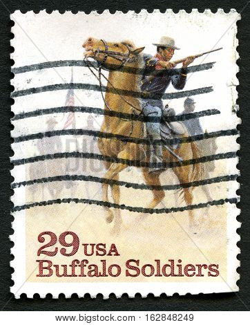 UNITED STATES OF AMERICA - CIRCA 1994: A used postage stamp from the USA commemorating Buffalo Soldiers circa 1994.