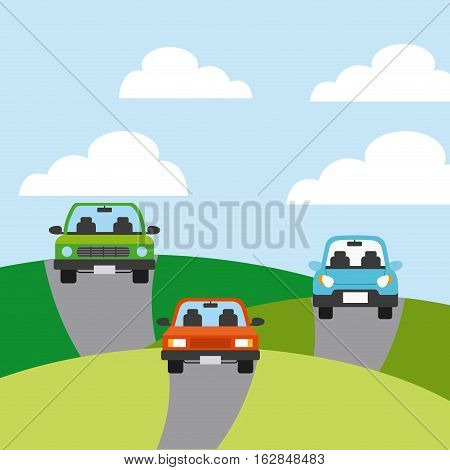 cars vehicles icon on mountains roads. colorful design. vector illustration