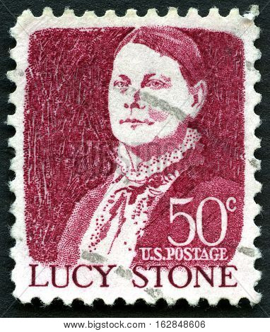 UNITED STATES OF AMERICA - CIRCA 1968: A used postage stamp from the USA depicting an illustration of historic Suffragist Lucy Stone circa 1968.