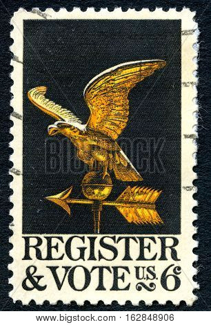 UNITED STATES OF AMERICA - CIRCA 1968: A used postage stamp from the USA promoting the importance to vote circa 1968.