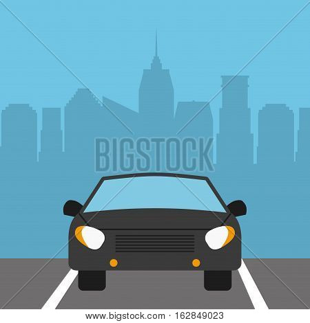 parked car vehicle icon over city background. colorful design. vector illustration
