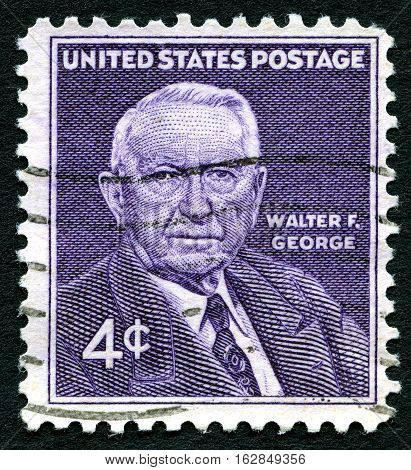 UNITED STATES OF AMERICA - CIRCA 1960: A used postage stamp from the USA depicting an illustration of former US Politician Walter F. George circa 1960.