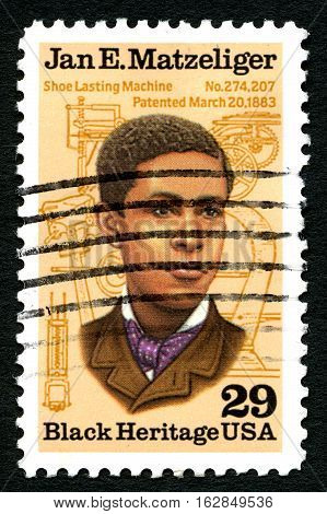 UNITED STATES OF AMERICA - CIRCA 1991: A used postage stamp from the USA depicting a portrait of Jan. E. Matzeliger - inventor of the shoe Lasting Machine circa 1991.