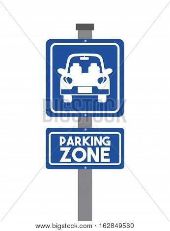 sign of parking zone with car icon over white background. colorful design. vector illustration