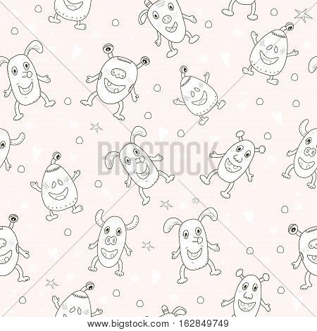 Cute hand drawn monsters cartoon style. vector pattern.