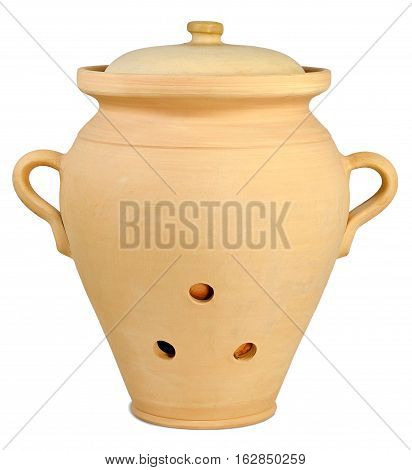 large ceramic pitcher for storing vegetables in brown colour with three holes two handles and a lid which is isolated on a white background