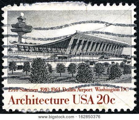 UNITED STATES OF AMERICA - CIRCA 1982: A used postage stamp from the United States of America dedicated to architect Eero Saarinen - the architect of Dulles Airport circa 1982.