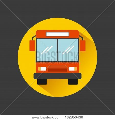 bus vehicle icon  over yellow circle and black background. vector illustration