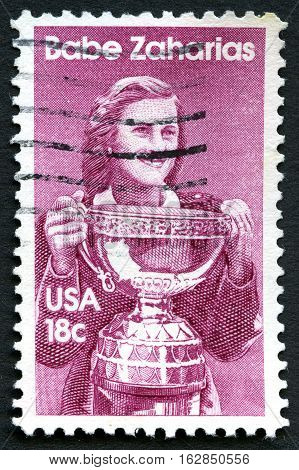 UNITED STATES OF AMERICA - CIRCA 1981: A used postage stamp from the USA depicting an illustration of famous American athlete Babe Zaharias circa 1981.