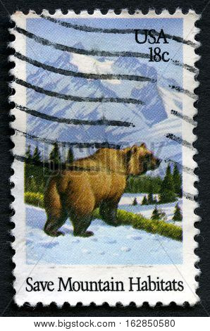 UNITED STATES OF AMERICA - CIRCA 1981: A used postage stamp from the USA promoting the need to Save Mountain Habitats circa 1981.