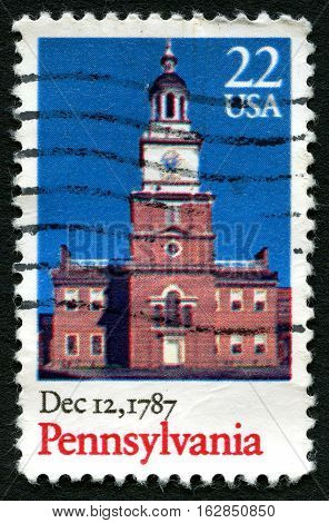 UNITED STATES OF AMERICA - CIRCA 1987: A used postage stamp from the USA commemorating the date when Pennsylvania ratified the constitution circa 1987.