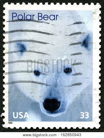 UNITED STATES OF AMERICA - CIRCA 1999: A used postage stamp form the USA depciting an image of a Polar Bear circa 1999.