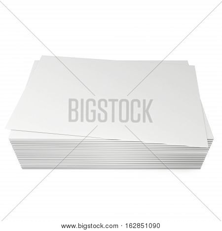 Stack of blank business cards. 3d render isolated on white background. Name cards as a presentation for promotion of corporate identity