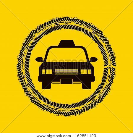 wheel print on circle shape with taxi car vehicle icon. colorful design. vector illustration