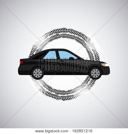 black car vehicle icon over white background with wheel print. colorful design. vector illustration