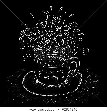 Hand Drawn cup with flowers white on black . Vector Illustration.