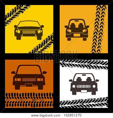 taxi cars vehicles icon on squares with wheels prints. colorful design. vector illustration