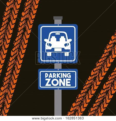 sign of parking zone with car icon over black and orange background. colorful design. vector illustration