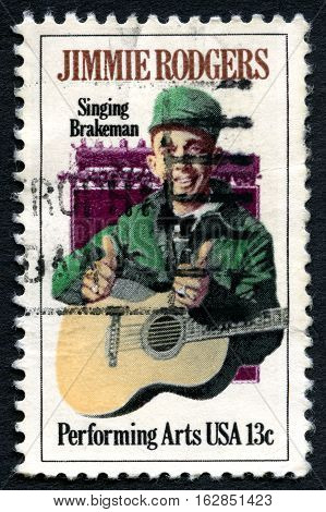 UNITED STATES OF AMERICA - CIRCA 1978: A used postage stamp from the USA celebrating the life of Country Singer Jimmie Rodgers circa 1978.