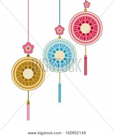 chinese decoration hanging over white background. colorful design. vector illustration