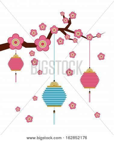 branch with flowers and chinese lanterns decorations hanging over white background. colorful design. vector illustration