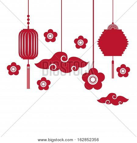 silhouette of flowers and chinese lanterns decorations hanging over white background. colorful design. vector illustration