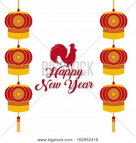 Happy new year card with rooster icon and chinese lanterns hanging over white background. colorful design. vector illustration