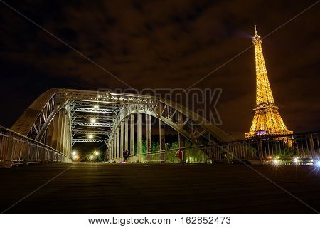 Eiffel Tower In Paris, France, With Light Performance Show At Night
