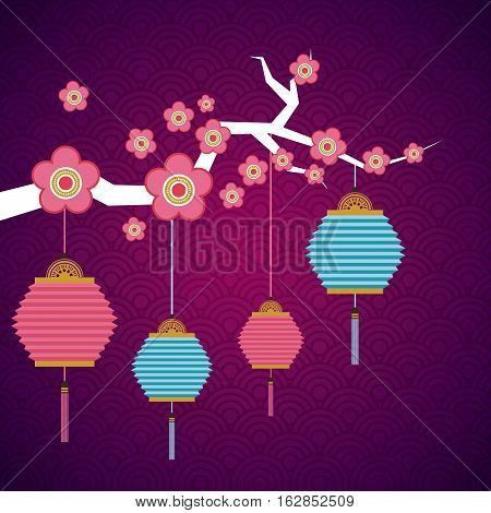 branch with flowers and chinese lanterns decorations hanging over purple background. colorful design. vector illustration