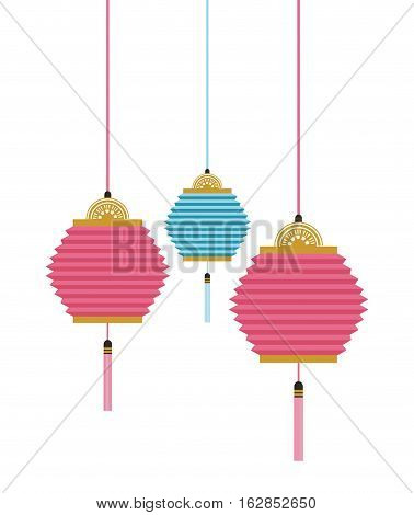 chinese lanterns decorations hanging. colorful design. vector illustration